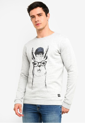 !Solid grey Rhodes Printed Sweatshirt 7524CAA9D169D2GS_1