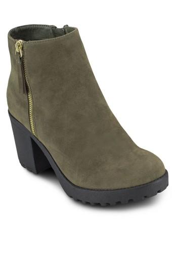 New Ishmael esprit hk側拉鍊粗跟短靴, 女鞋, 鞋