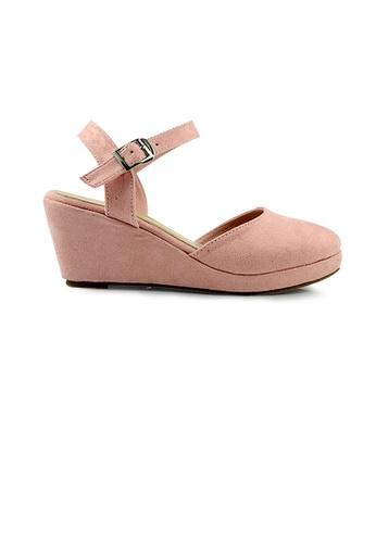 SHINE pink SHINE Strappy Round Toe Velvet Platform Wedges 7F46DSH3B87D22GS_1