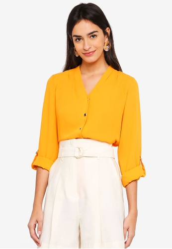Dorothy Perkins yellow Orange Pleat Shirt 765D4AAF91E9D1GS_1
