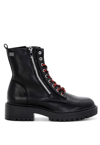 Rag & CO. black Black Lace-up Combat Boots with Zipper RCSH1740 55820SH8E86F8AGS_1