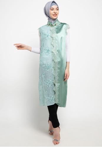 LUIRE by Raden Sirait green Ms Coat Monic Midi Kensi Top 5DE66AA7C32487GS_1