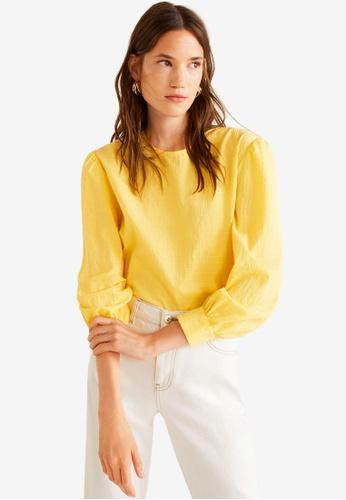 d9eae04bd94 Mango yellow Striped Cotton Blouse 2A431AAD0DFF45GS 1