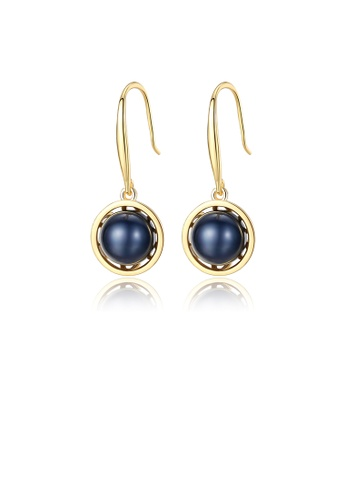 Glamorousky black 925 Sterling Silver Plated Gold Fashion Elegant Geometric Black Freshwater Pearl Earrings AE739ACF198362GS_1