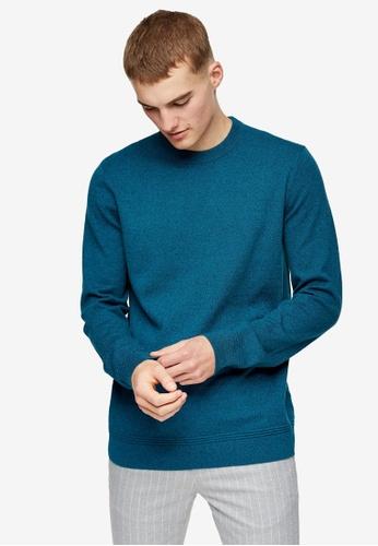 Topman blue Crew Knitted Jumper 11245AAA350A97GS_1