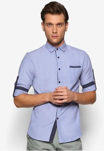 撞色邊飾esprit 香港 outlet修身長袖襯衫, 服飾, 襯衫