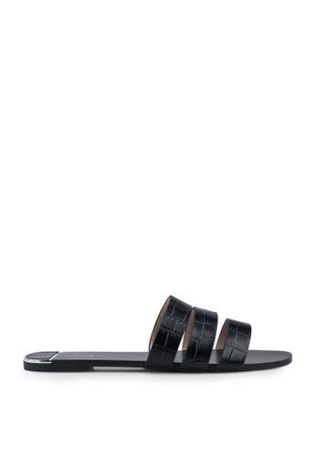 Nose black Mock Croco Flat Slides 79B10SH9C3897EGS_1