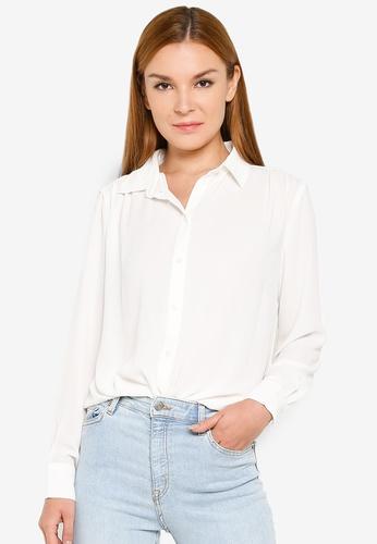 H&M white Round Neck Blouse 97BA2AA5BB8BC6GS_1