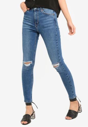 TOPSHOP 藍色 Mid Denim Ripped Jamie Jeans 1E97CAA9962FD0GS_1