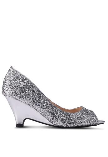 Velvet silver Metallic Open Toe Heels 33801SH3B44A40GS_1