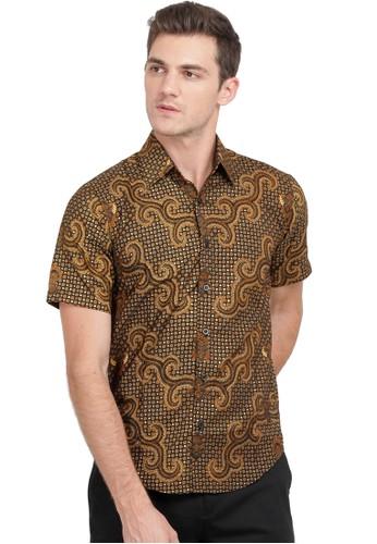 Flike Batik brown Kemeja Batik Tangan Pendek Motif Jaka Tingkir 29211AAD37226CGS_1