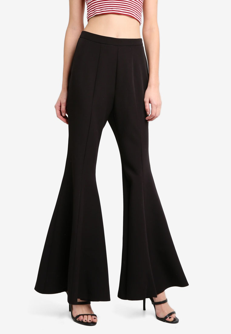 Trousers MISSGUIDED Flare Peace Black Love OOtxAwH8