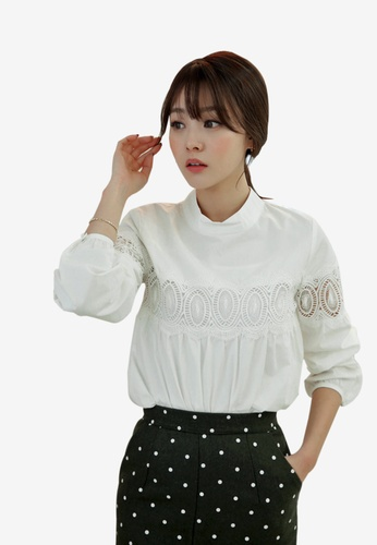 Shopsfashion white Valentina Bubble Sleeve Blouse SH656AA98NBPSG_1