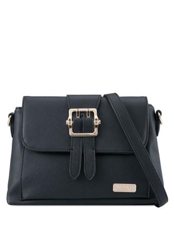 Unisa black Pin Buckle Saffiano Sling Bag UN821AC0SRVGMY_1