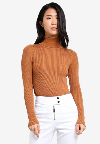 TOPSHOP brown Puff Sleeve Roll Jumper TO412AA0SD5OMY_1