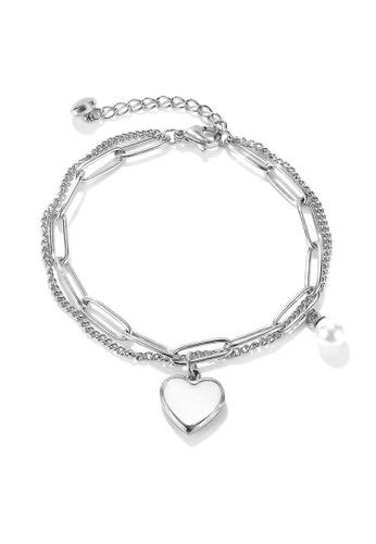 YOUNIQ silver YOUNIQ LUNA Heart Chain Titanium Steel Love Bracelet with Pearl 1A7A0ACF85F7CFGS_1