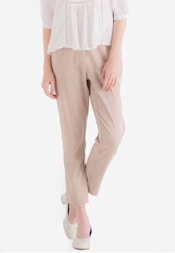 Kodz beige Basic Ankle Length Trousers 33D45AAD5FD090GS_1