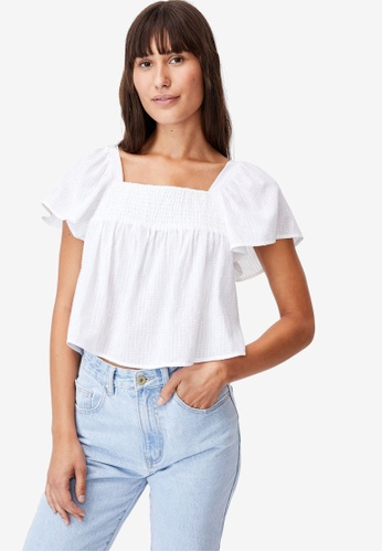 Cotton On white Petite Flutter Sleeve Blouse DC282AAC5C68A8GS_1