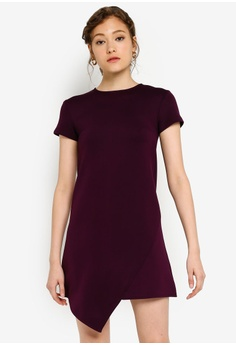e0bbb3d344ef5 ZALORA BASICS purple Basic Short Sleeves Front Overlap Shift Dress  3CC5FAAB044E95GS_1