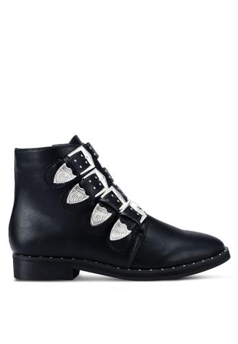 MISSGUIDED 黑色 4 Strap Buckle 踝靴 C0D88SHEC7F013GS_1