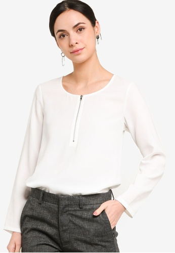 ZALORA WORK white Zip Down Long Sleeve Blouse CB6C4AAB473EB7GS_1