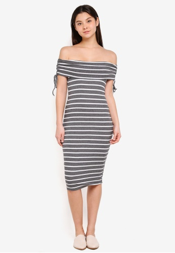 Cotton On grey and white Elise Off The Shoulder Tie Detail Dress D5BCFAA5E62572GS_1