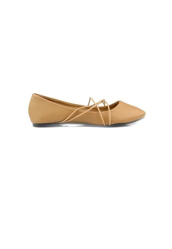 SHINE beige Cross Strap Ballerinas 3D599SH475DD1AGS_1