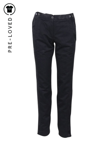 Dries Van Noten black Pre-Loved dries van noten Black Trousers With Floral Fabric On The Side D4253AAAF4C520GS_1