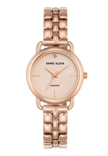 Anne Klein Women S Ak 2794rgrg Diamond Accented Rose Gold Tone Bracelet Watch