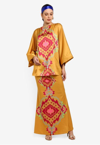 Tom Abang Saufi for ZALORA yellow Big Grace Kimono Kurung E4B98AA994EBCFGS_1
