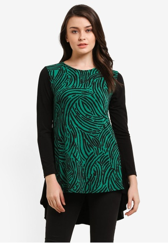Zariya green Printed Muslimah Blouse 4A12AAA2BDB997GS_1