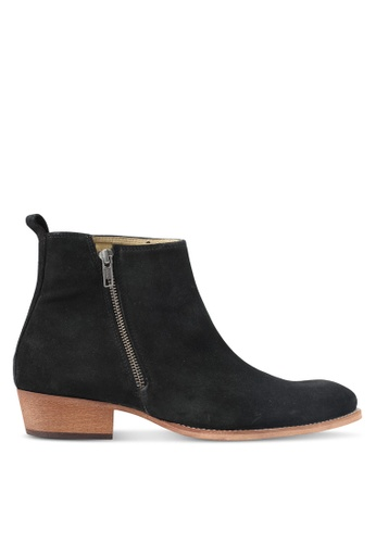 Topman black South Zip Boots TO413SH0T1JBMY_1
