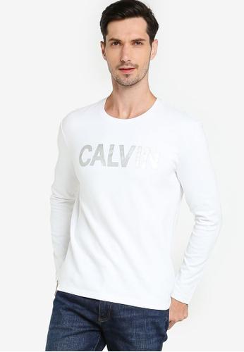 Calvin Klein white Ad-Mtlc Calvin T Ls - Calvin Klein Jeans B00DAAAE41382DGS_1