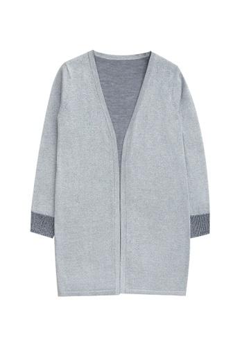 KLAPS grey Shiny Long Cardigan F2C34AA0F630E2GS_1