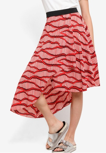 TOPSHOP red Matchstick Asymmetrical Midi Skirt TO412AA29WVIMY_1