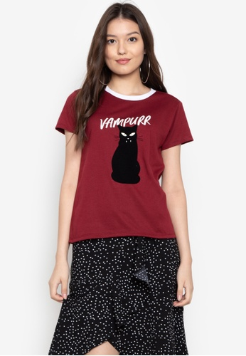 OXYGEN red On Trend Tee With Special Print Effect 66796AA9FFD0DDGS_1