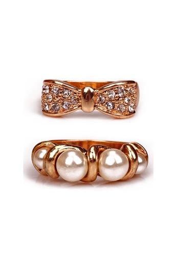 Kimberley gold Rhinestone & Faux Pearl Ring Set KI026AC59NAIPH_1