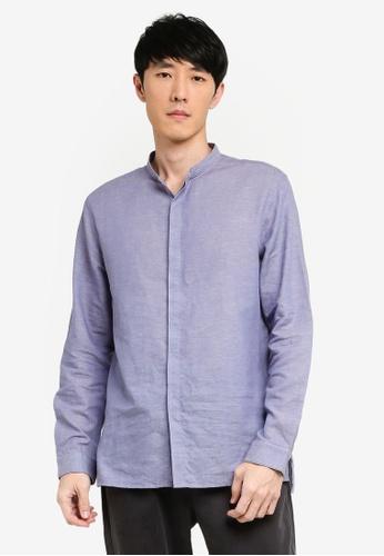 URBAN REVIVO blue Mandarin Collar Shirt 714A2AA8812A0CGS_1