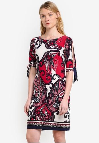 Wallis red Paisley Split Sleeve Tunic Dress WA800AA0RQJGMY_1