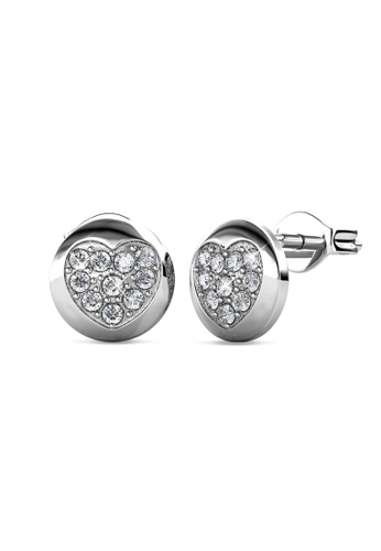 Her Jewellery silver Faith Heart Earrings (White Gold) -  Embellished with Crystals from Swarovski® 7382EAC49D3591GS_1