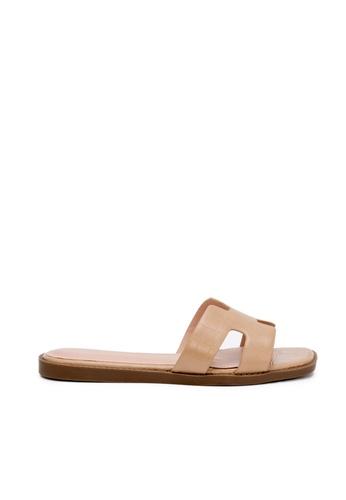 Nose beige Faux Crocodile Flat Slides 6D3E0SHD6DD576GS_1