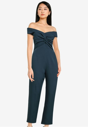 ZALORA OCCASION green Knot Front Off Shoulder Jumpsuit 11BB2AA3A5DEE0GS_1