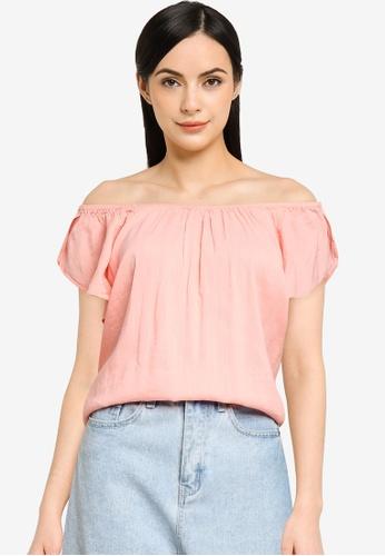 GAP pink Classic Off Shoulders Blouse 060D0AAF60A75EGS_1