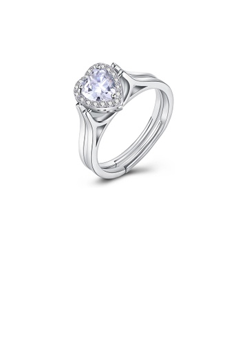 Glamorousky white 925 Sterling Silver Romantic Brilliant Heart-shaped Cubic Zircon Adjustable Ring 1642FAC4ABB02BGS_1