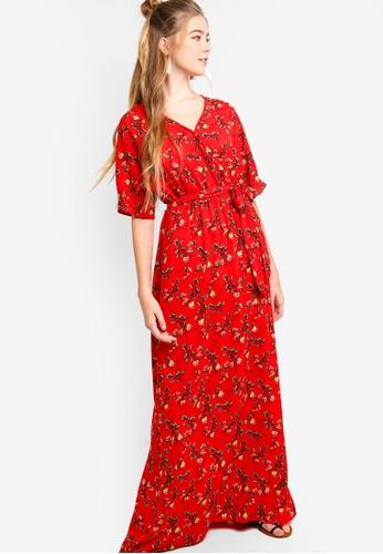 SOMETHING BORROWED red Kimono Sleeves Maxi Dress 30275AAEB02A25GS_1