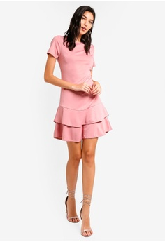 a54d99035c 35% OFF ZALORA Tiered Flare Hem Dress RM 105.00 NOW RM 67.90 Sizes XS S M L  XL