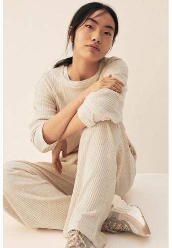 H&M beige Ribbed trousers 23762AA2D5ECDEGS_1