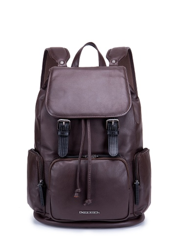 ENZODESIGN brown ENZODESIGN Flap Over Cow Nappa Leather Backpack 4212AAC229C862GS_1