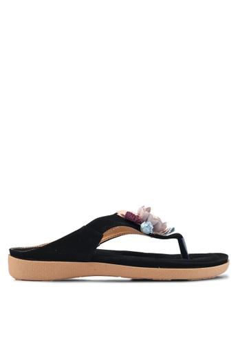 Mimosa 黑色 花卉飾夾腳涼鞋 344F6SH56D5EDDGS_1
