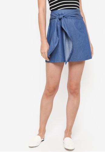 ZALORA blue Ribbon Tie Skirt 86588AA34EC83AGS_1